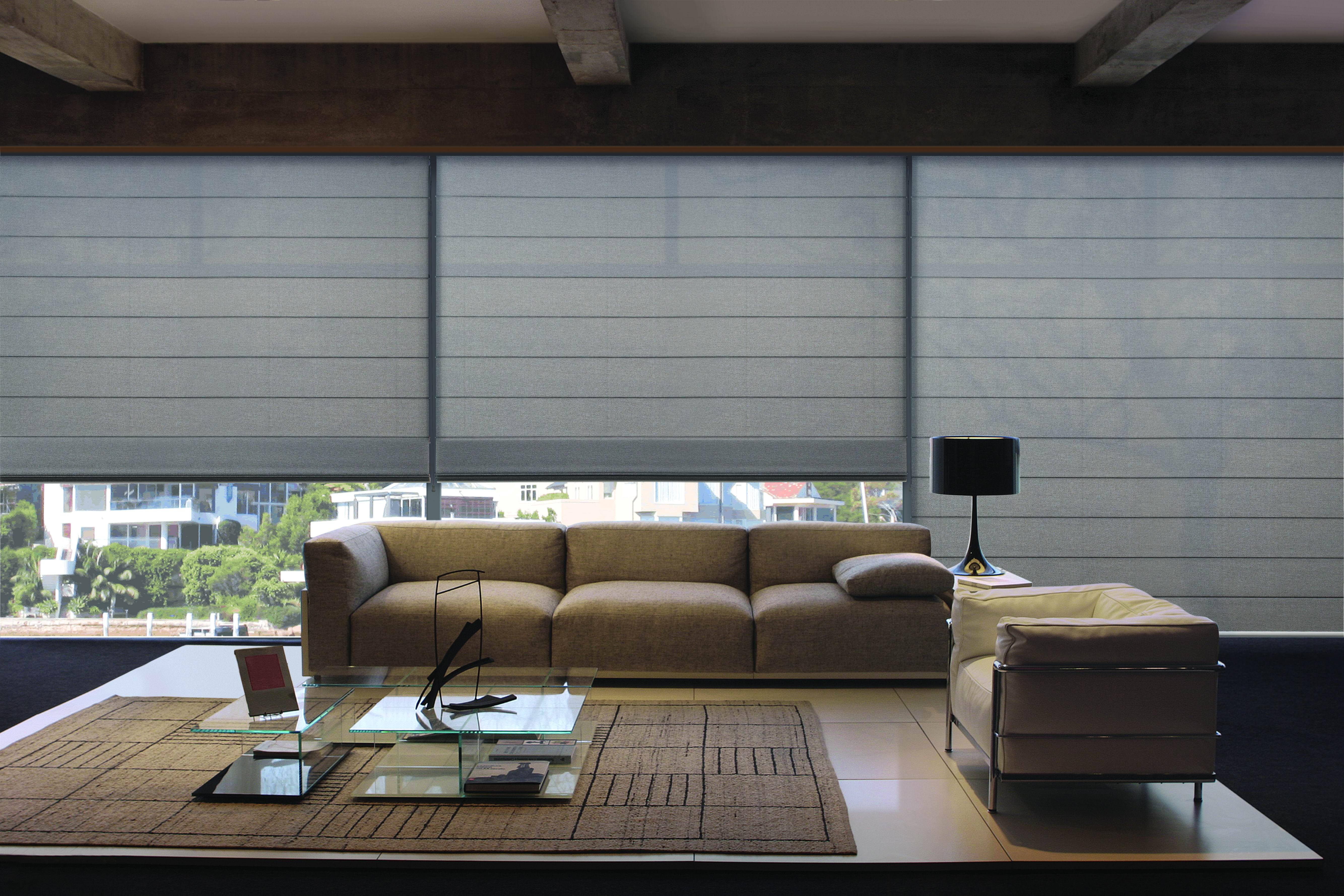 Contemporary Roman Blinds in Translucent Fabric.Jpeg