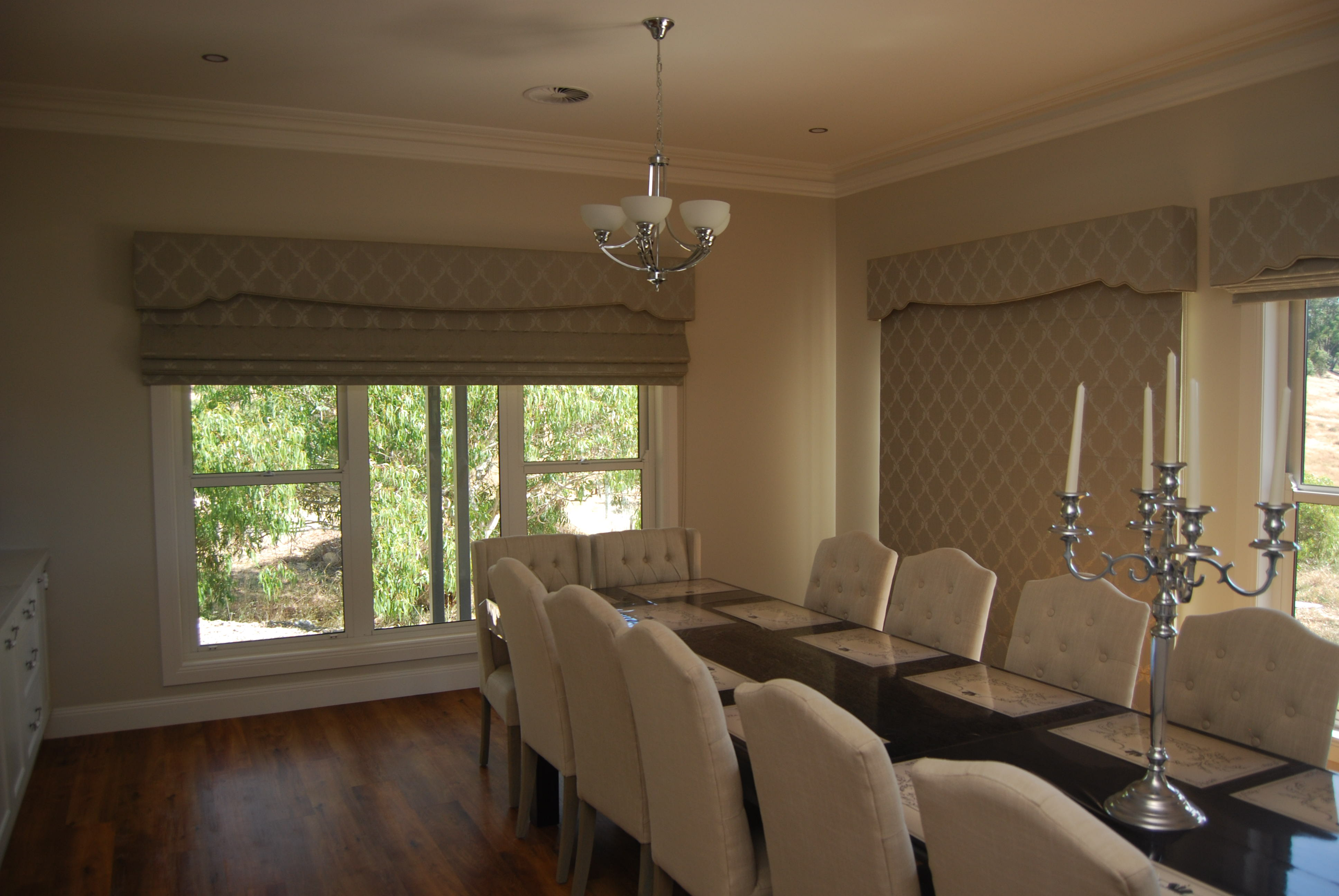 Soft Roman Blinds with Pelmets in Dining Room.JPG